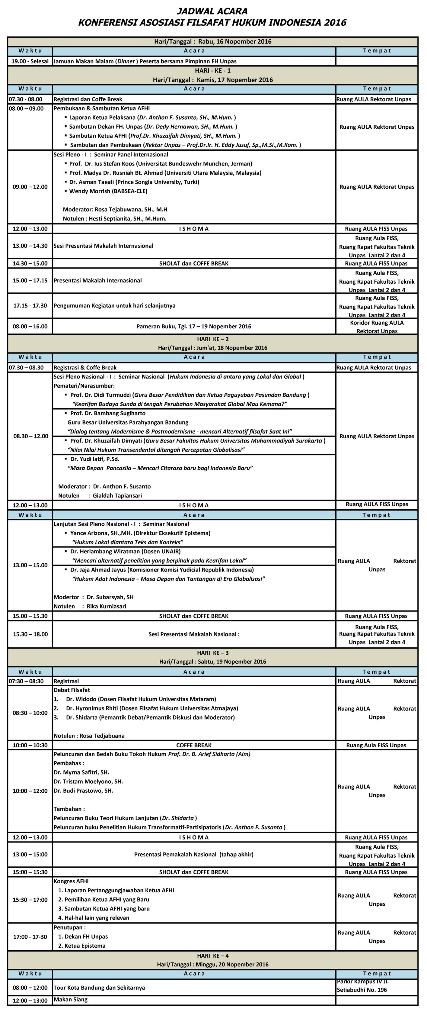 Jadwal Acara Konferensi AFHI ke-6